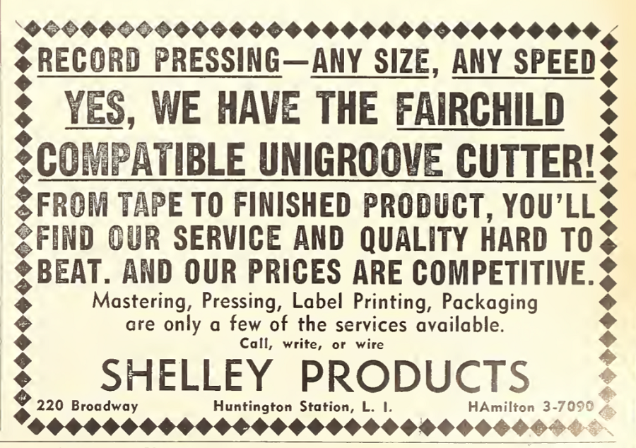 Ad for Shelley Products company.